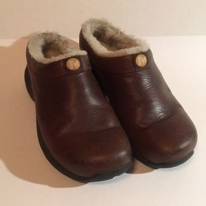 Merrell Bug Brown Lined Clogs 8.5